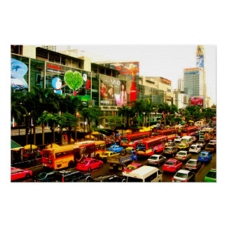 Colourful Traffic Jam Bangkok City Poster