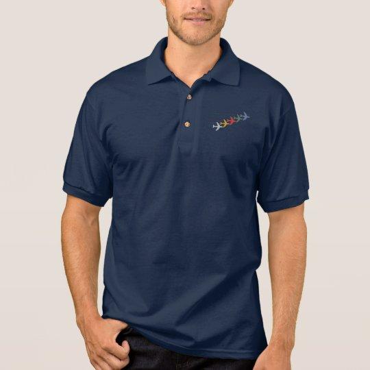 colourful travel aeroplanes polo shirt