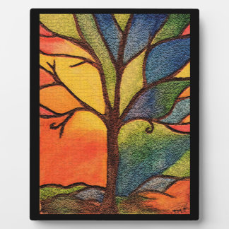Colourful Tree Abstract plaque with easel