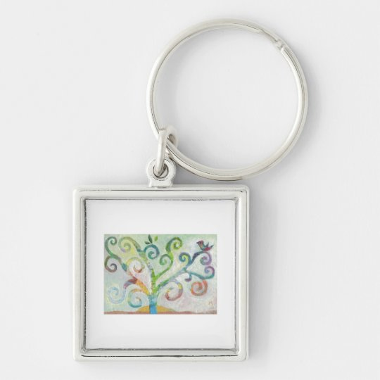 Colourful Tree of Life Silver-Colored Square Key Ring
