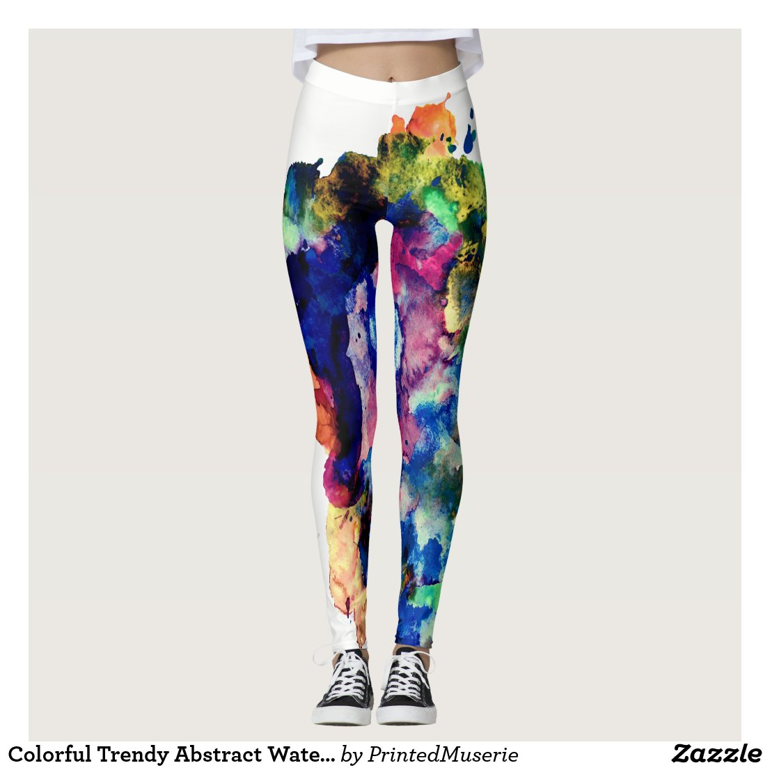 Colourful Trendy Abstract Watercolour Paint Leggings