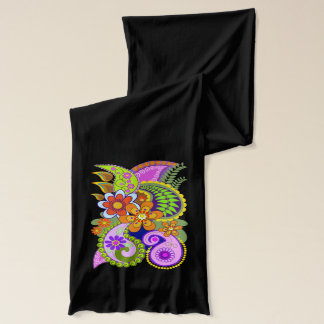 Colourful trendy Paisley Flowers Jersey Scarf