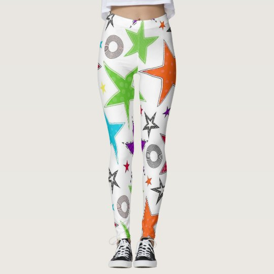 Colourful trendy stars leggings