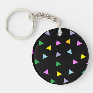 Colourful Triangles Double-Sided Round Acrylic Key Ring