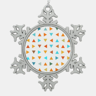 Colourful Triangles Pewter Snowflake Decoration
