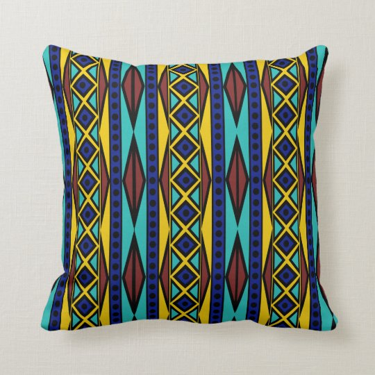 Colourful Tribal Aztec Boho Geometric Style Cushion