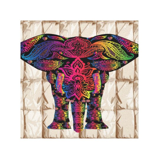Colourful tribal elephant canvas print