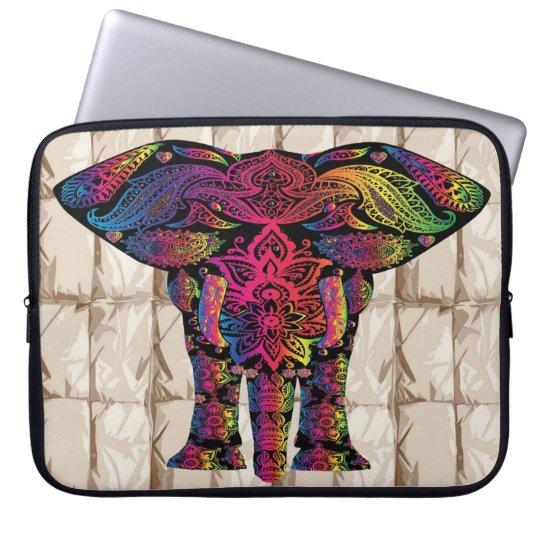 Colourful tribal elephant laptop sleeve