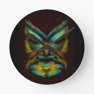 Colourful tribal face wall clock