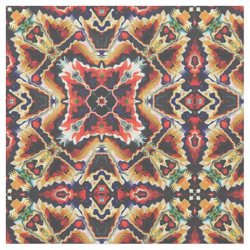 Colourful Tribal Geometric Abstract Fabric
