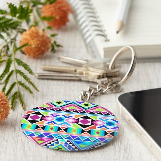 Colourful Tribal Pattern Basic Round Button Key Ring