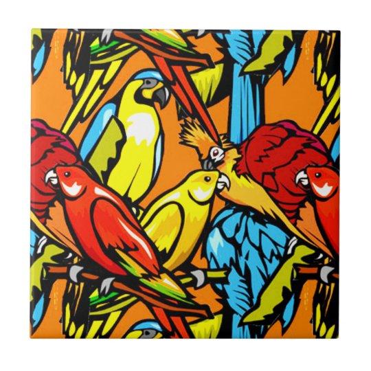 Colourful Tropical Birds Tile