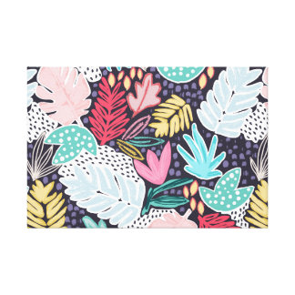 Colourful Tropical Collage Canvas Navy Canvas Print