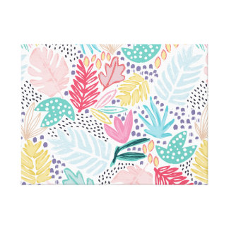 Colourful Tropical Collage Canvas White Canvas Print