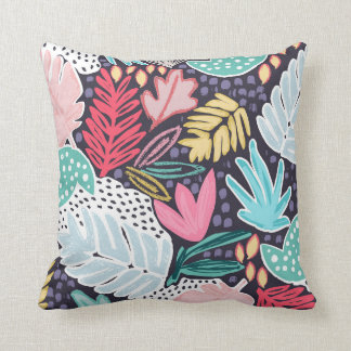 Colourful Tropical Collage Cushion Navy Base