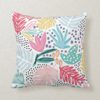 Colourful Tropical Collage Cushion White Base