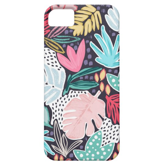 Colourful Tropical Collage Navy Pattern Phonecase Case For