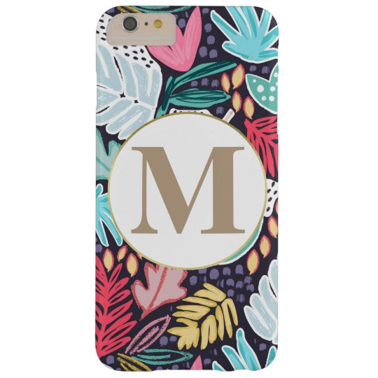 Colourful Tropical Collage Pattern & Monogram Barely There