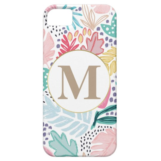 Colourful Tropical Collage Pattern & Monogram iPhone 5