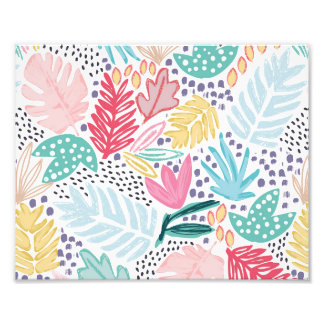 Colourful Tropical Collage White Photo Print