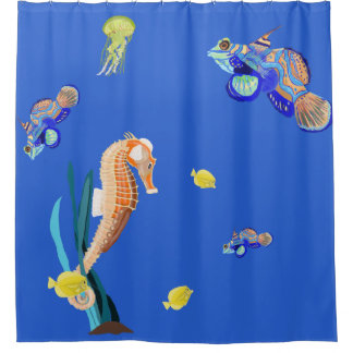 Colourful tropical fish and Seahorse Shower Curtain