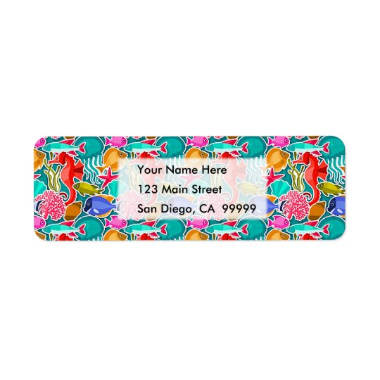 Colourful Tropical Fish Pattern 6 Return Address Label