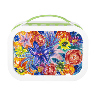Colourful Tropical Flower Watercolor Lunch Box