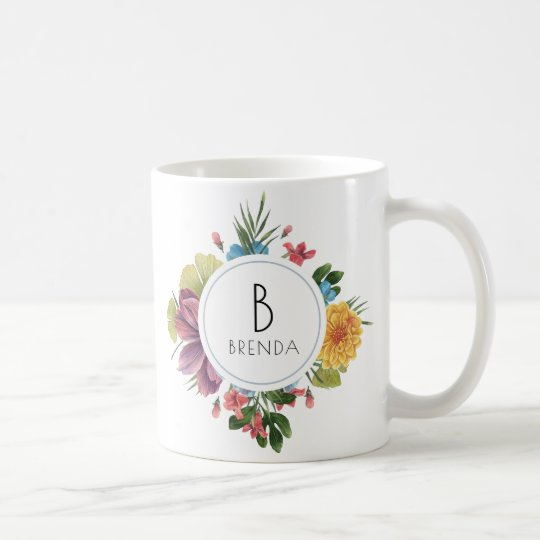 Colourful Tropical Flowers Bouquet Monogram Coffee Mug