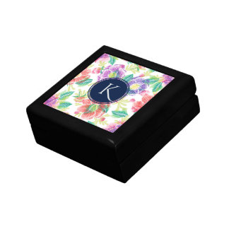 Colourful Tropical Flowers Monogram Small Square Gift Box