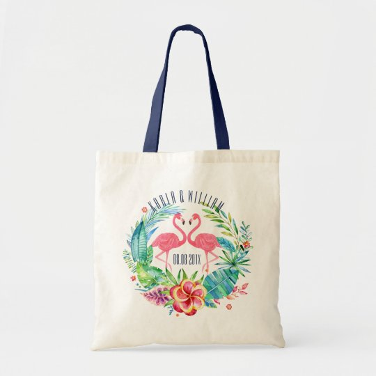 Colourful Tropical Flowers Wreath & Flamingos Tote Bag
