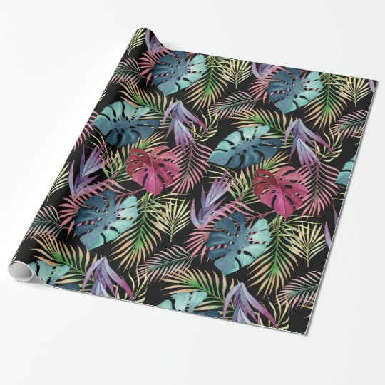 Colourful Tropical Foliage Botanical Pattern Wrapping Paper