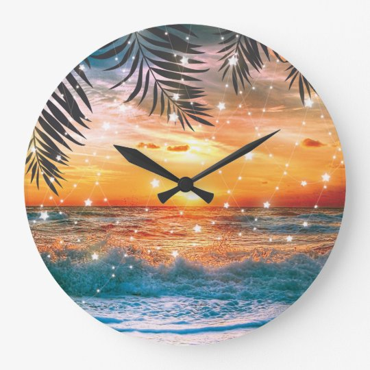 Colourful Tropical Sunset Ocean Beach Large Clock