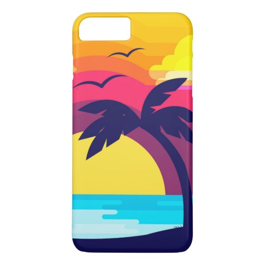 Colourful Tropical Sunset & Palm Tree | Phone Case