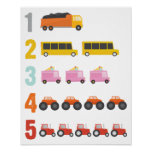 Colourful Trucks Number Nursery Art Poster