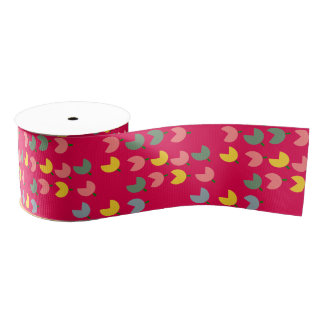 colourful tulips grosgrain ribbon