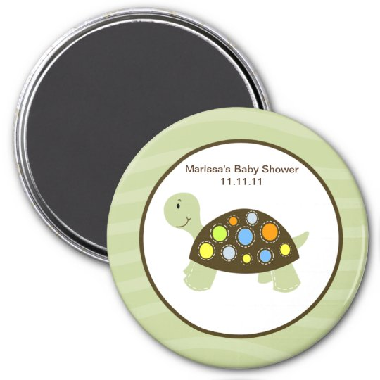 Colourful Turtle 3-inch Round Favour Magnet -