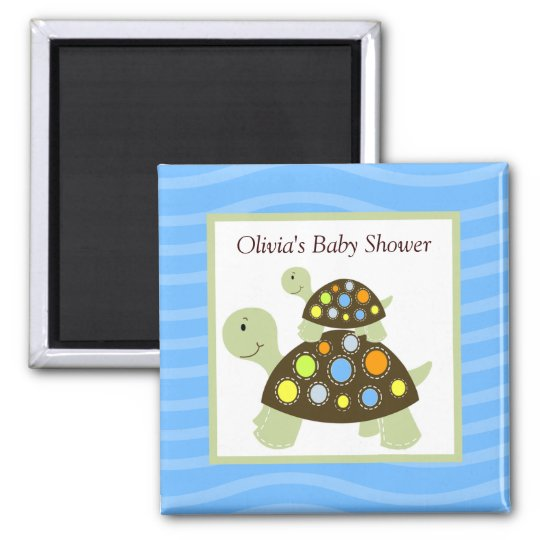 Colourful Turtle Rectangle Favour Magnet - Blue