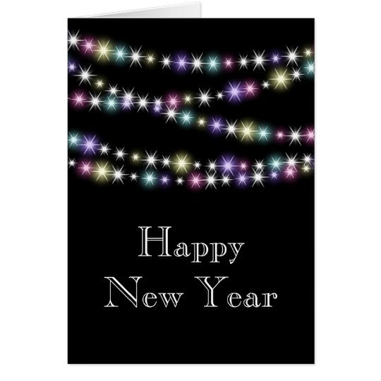 Colourful Twinkle Lights Happy New Year Card