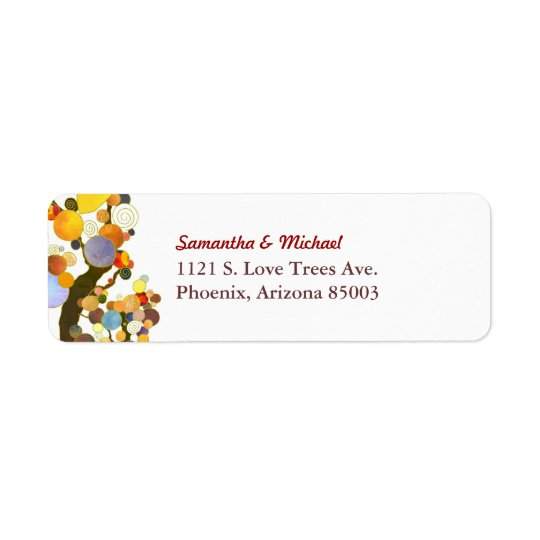 Colourful Two Trees Simple Wedding Return Address Label