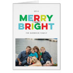Colourful Type Merry and Bright Folded Holiday Greeting Card