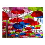 Colourful Umbrella Canopy Postcard