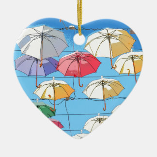 Colourful Umbrellas Christmas Ornament