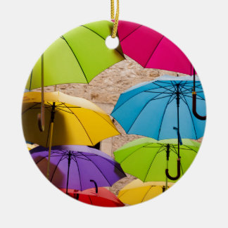 Colourful Umbrellas Christmas Ornament