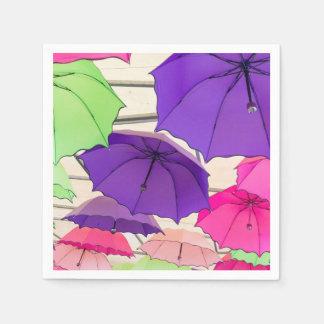 Colourful umbrellas disposable napkin