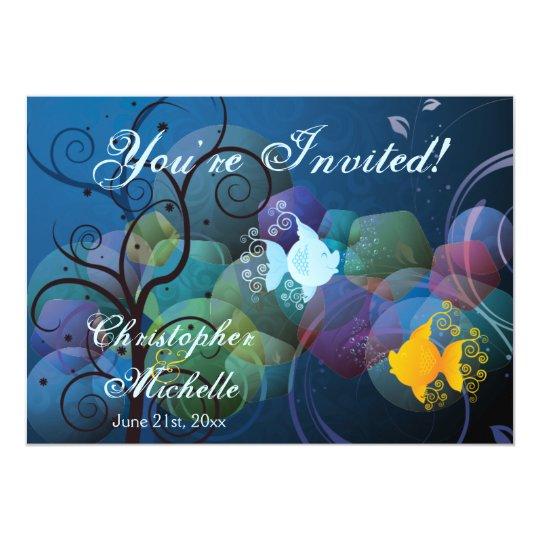 Colourful Underwater Fish Beach Wedding Invitation