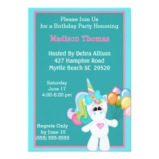Colourful Unicorn Birthday Invitation