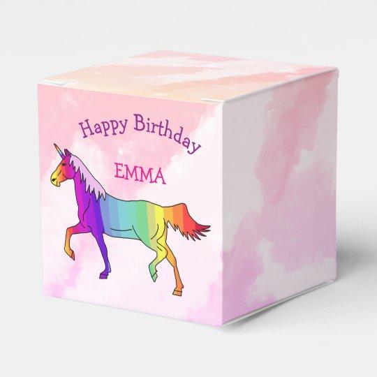 Colourful Unicorn Happy Birthday Name Favour Box