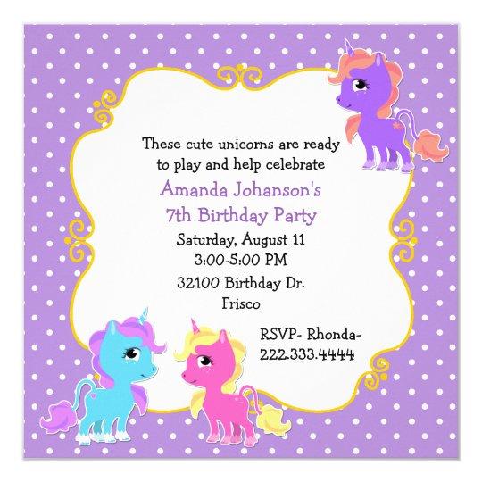 Colourful Unicorns Birthday Party Invitation