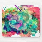 Colourful, Unique Watercolor Paint Splashes Mouse Mat