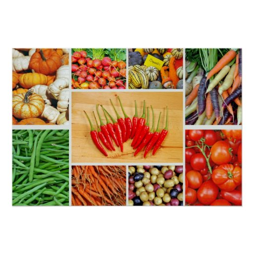 Colourful vegetable collage poster